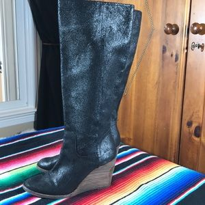 Lucky Brand Shoes - Lucky Brand wedge tall black boot - SZ 7M